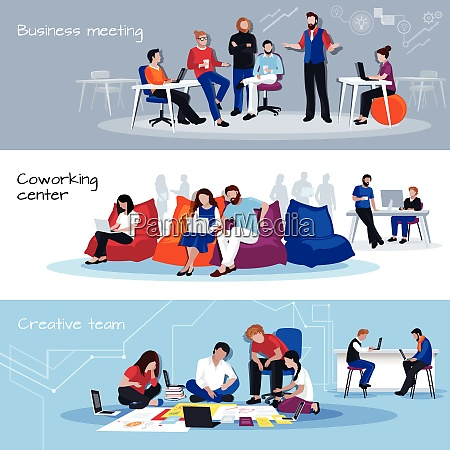 coworking people horizontal banners with business