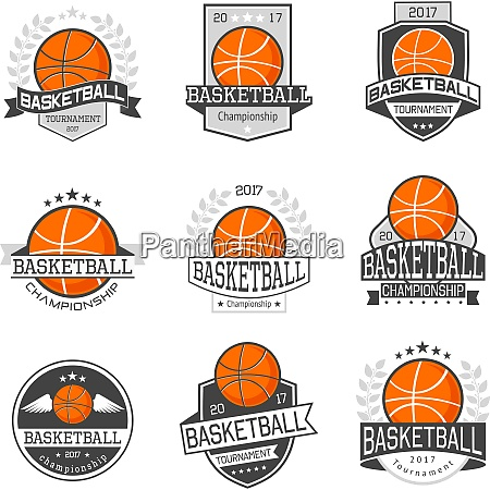 set of emblems basketball competitions in