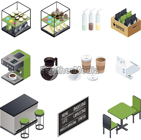 coffee house isometric elements set with