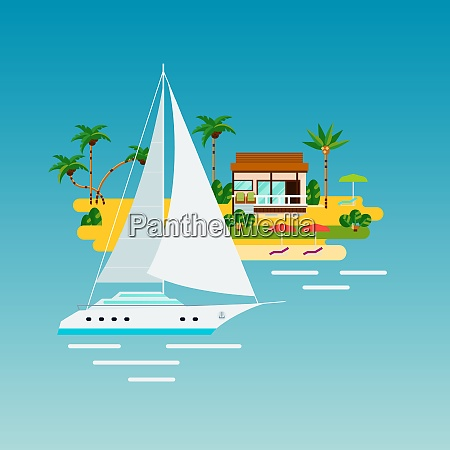 tropical island vacation composition with flat