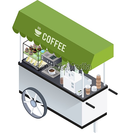 mobile coffee kiosk composition with isometric