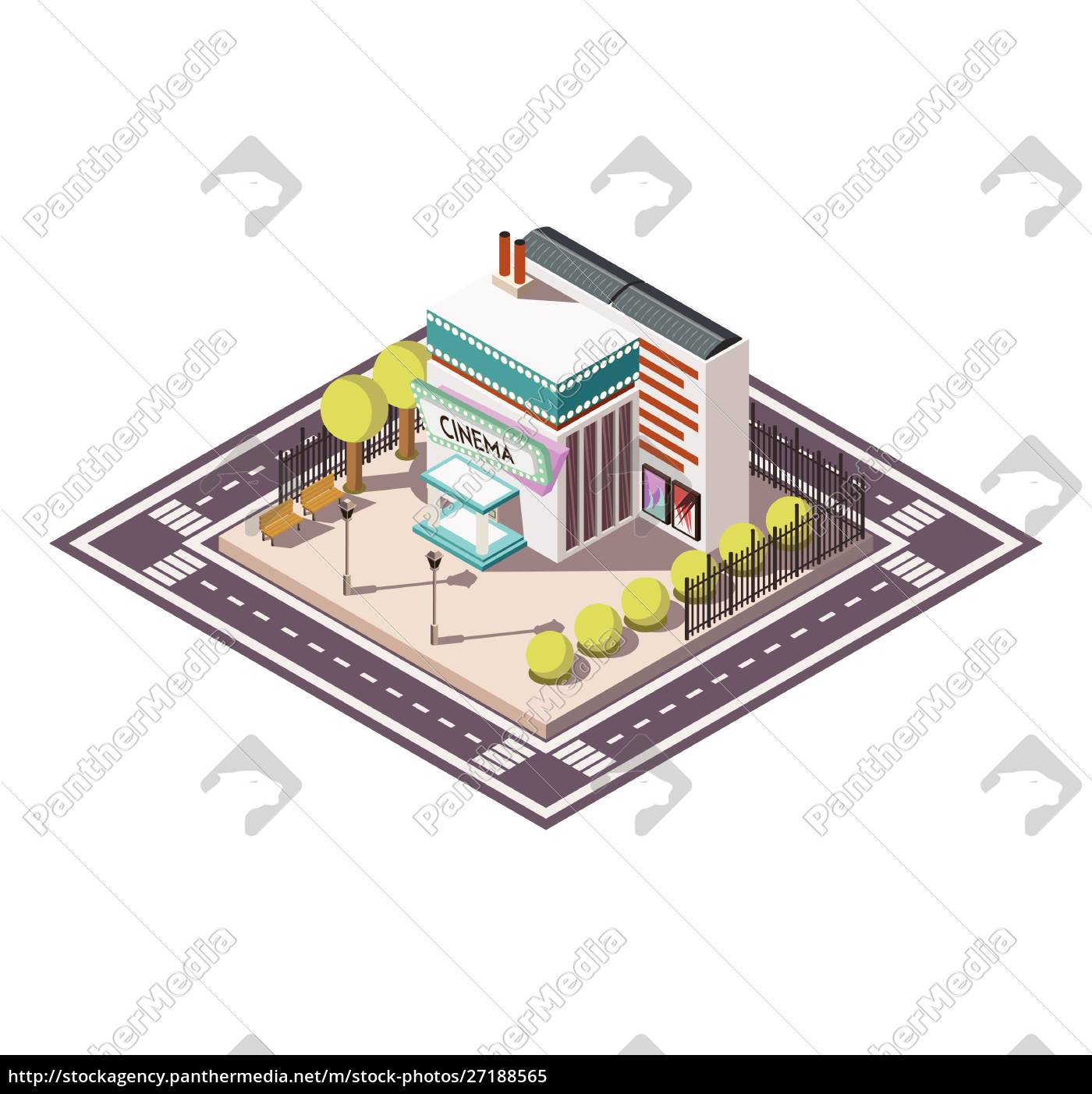 cinema, building, isometric, composition, with, road - 27188565