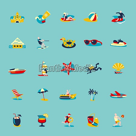summer beach vacation symbols people and