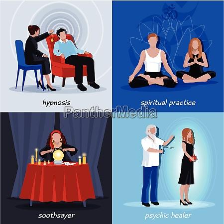 four square hypnotism extrasensory icon set