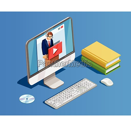 online education icon isometric composition with