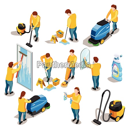 cleaning people isometric colored icons set