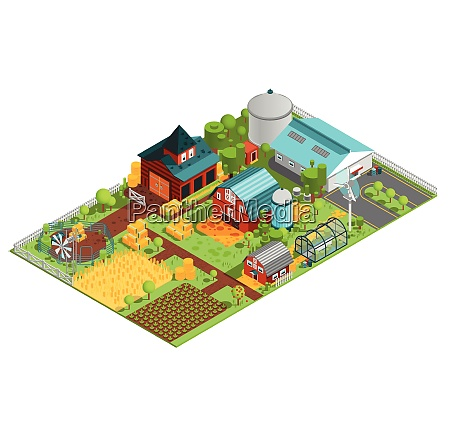 composition of modern farm rural buildings