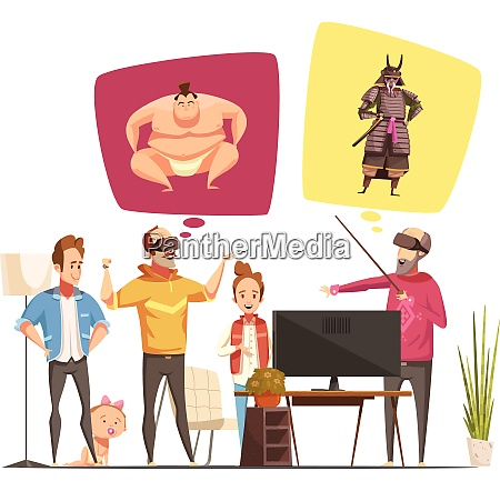 family hobbies design concept with family