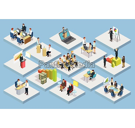 business training isometric set with staff