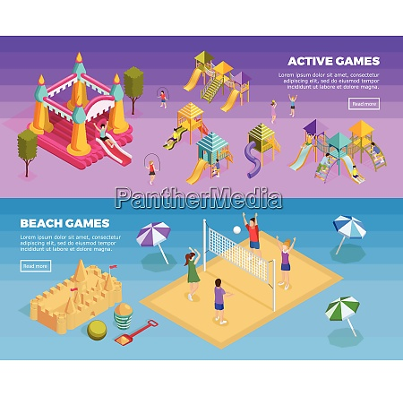 two horizontal playground banner set with