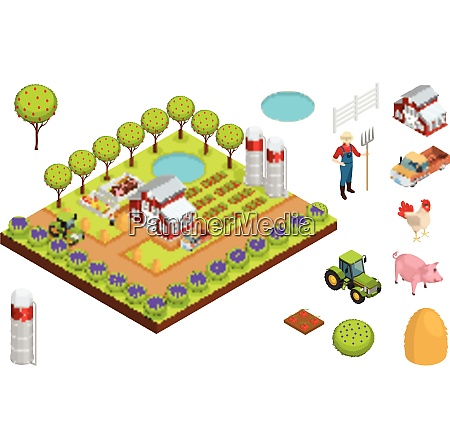 farm isometric composition layout creating a