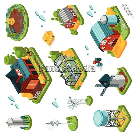 farm rural buildings isometric elements set