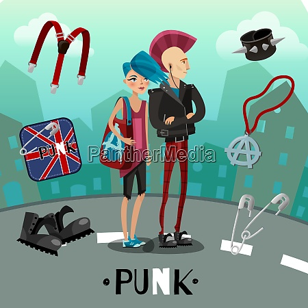 punk subculture composition including people with