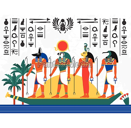 egypt flat colorful poster with ancient