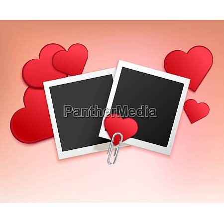 colored love photo frame composition with