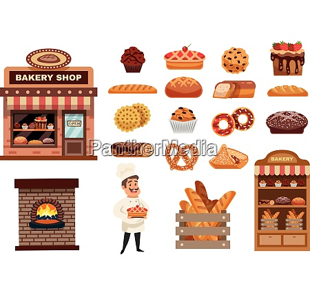 bakery icons set with cook figurine