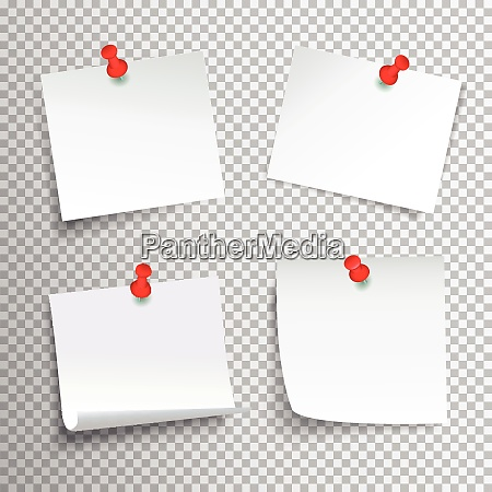 blank white paper set pinned with