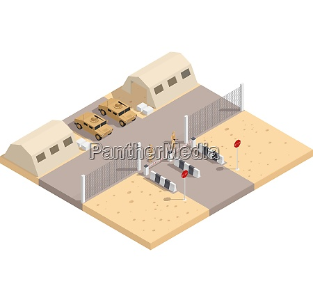 military isometric composition with guarded military