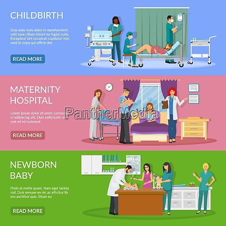 maternity hospital horizontal banners set of