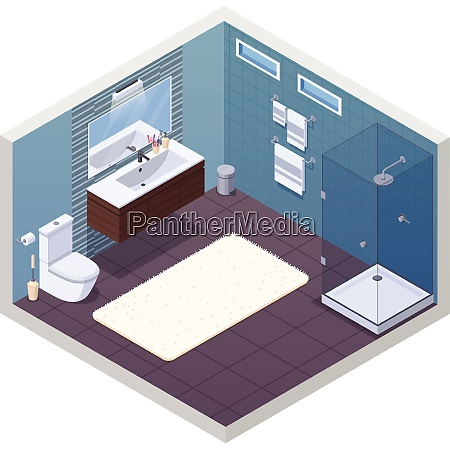 bathroom isometric interior with glossy shower