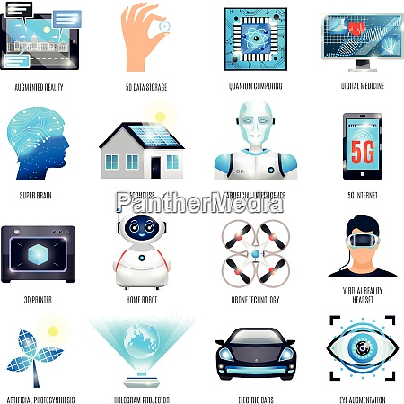 technologies of future icons set including