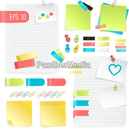 colorful paper notes set in realistic