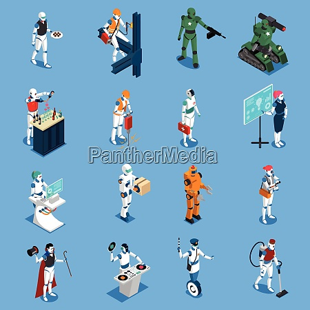 robot professions isometric colored icons set