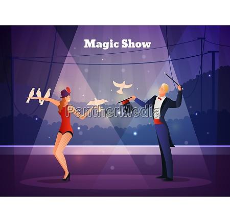 magic show design concept with illusionist
