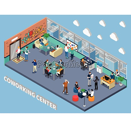 coworking center isometric interior with people