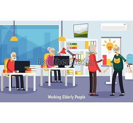 colored and flat aged elderly people