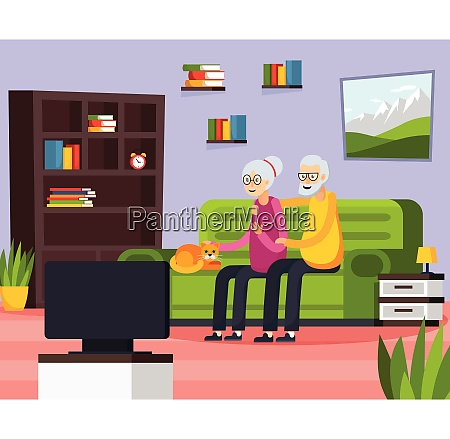 flat aged elderly people composition with