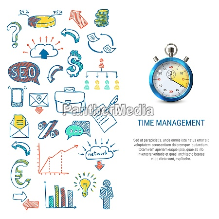 time management concept with colorful hand