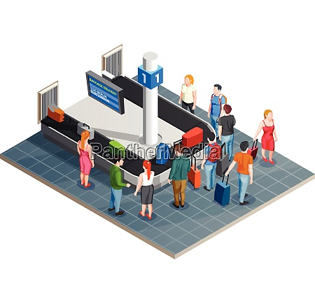 conveyor line airport isometric composition with