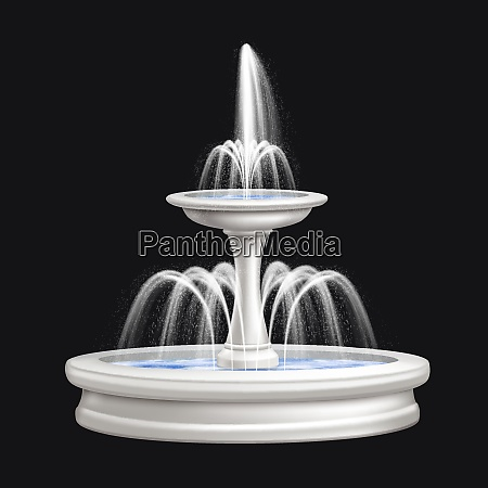 colored and realistic big fountains isolated