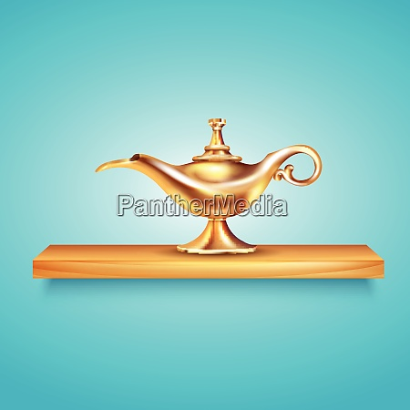 aladdin lamp shelf composition with cumbersome