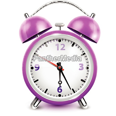 purple alarm clock with two bells