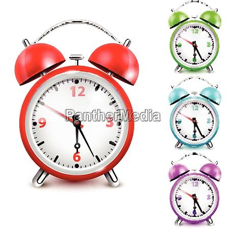 colored alarm clock icon set the