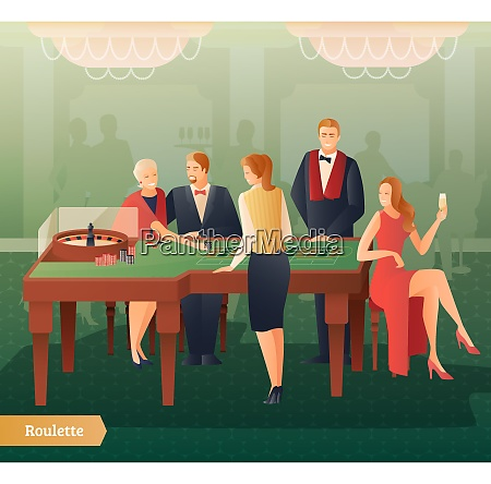 casino and roulette with men women