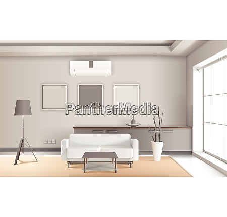 realistic lounge interior in light tones