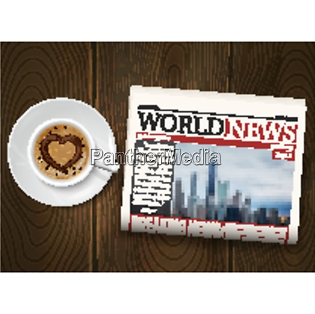 morning world news realistic poster with