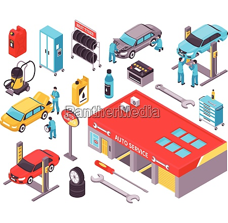 auto service isometric icons set with