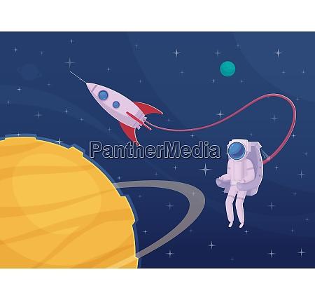 extravehicular activity cartoon poster with astronaut