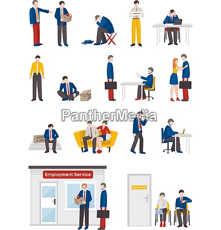 unemployed people flat collection with isolated