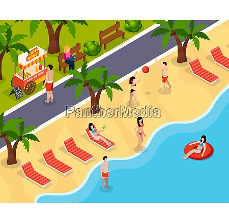 colored beach rest isometric composition with