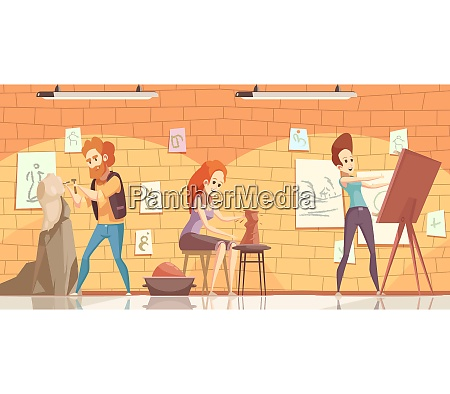 art professions background with artist and