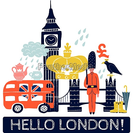 tourist london poster with royal crown