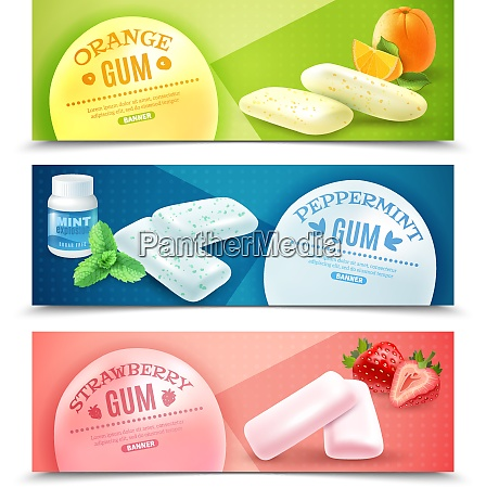 collection of realistic gum horizontal banners