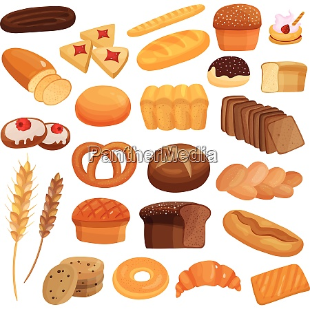 set of bakery products including wheat