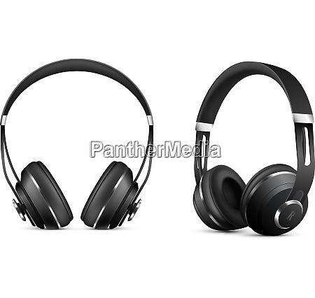 wireless headphones realistic set with music