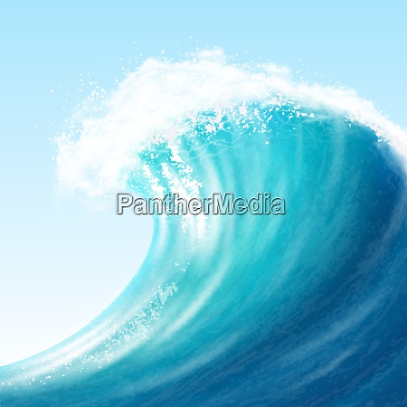 realistic sea big wave with white